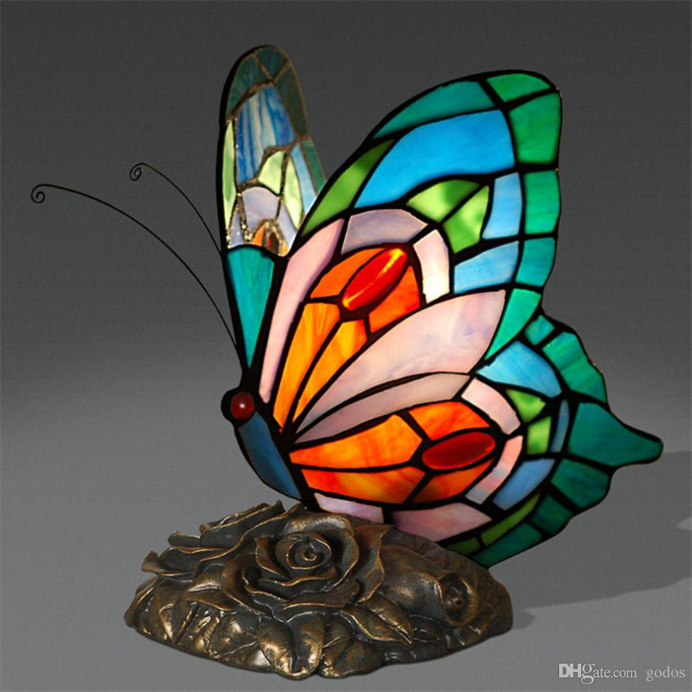 Glass Lamp Art Accent Butterfly Table Lamp Butterfly Table Lamp Art Decor Stained Glass Lights For Living Room Butterfly Tiffany Bedroom Hotel Bedside