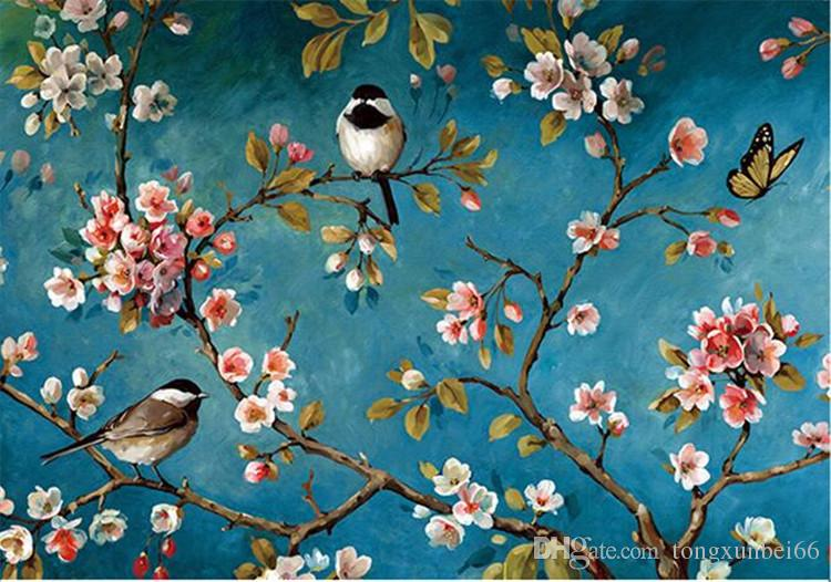3d Effect Wallpaper For Living Room Photo Wallpaper 3d Stereo Chinese Flowers Birds Mural