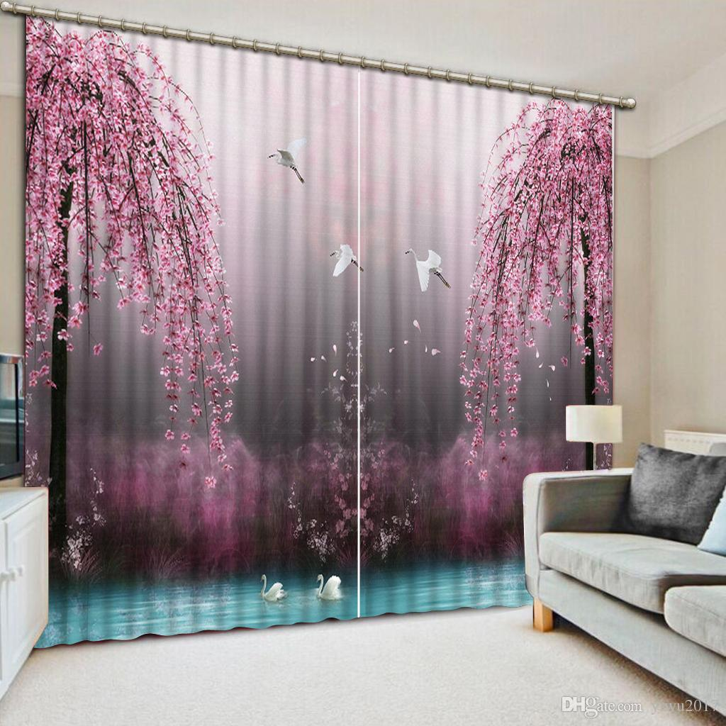 Pink Living Room Curtains Elegant Pink Curtains Lake Swan Decoration Curtain For Living Room Bedroom Beautiful Girls Room Window Curtains