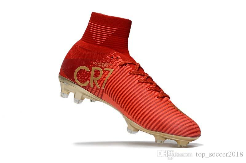 Children White Gold Cr7 Soccer Cleats Mercurial Superfly