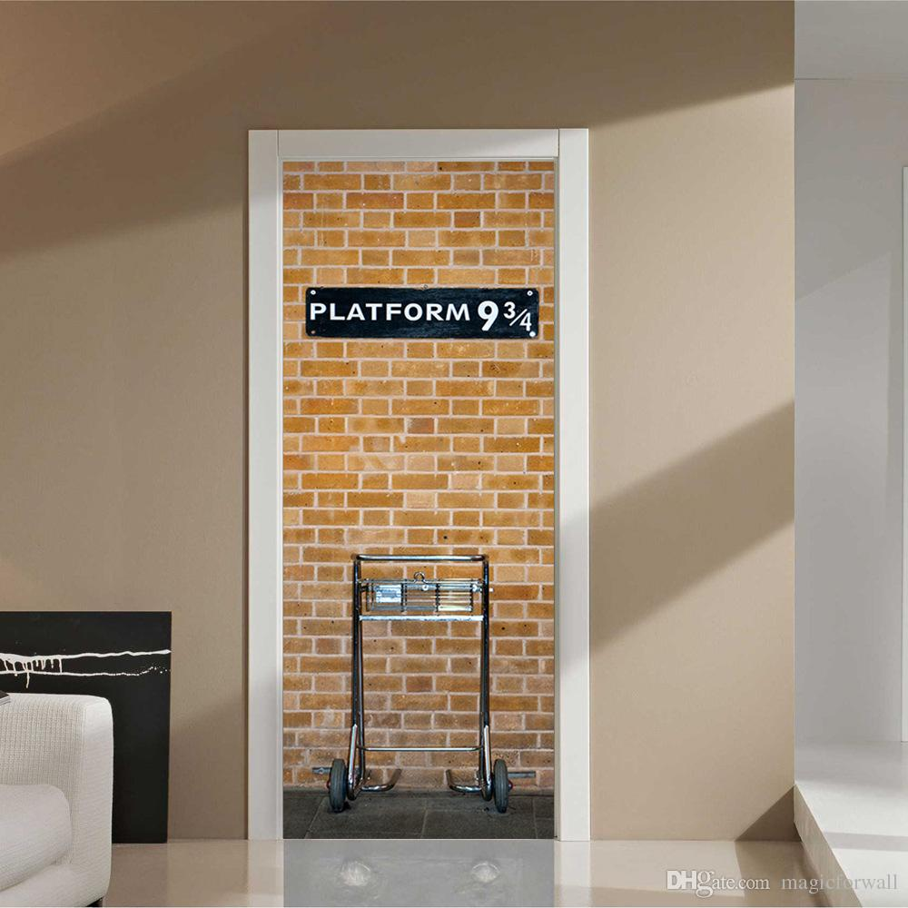 Brick Wall Design Brick Wall With White Door Frame Wall Stickers Home Decor Platform 93 4 Self Adhesive Wallpaper Mural Poster Renovate Door Wall Decals