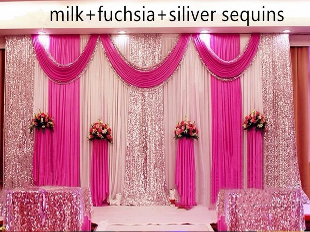 Pink Sequin Curtains Customized Satin Wedding Backdrop Curtains Gold Swag Satin Party Background Drape Curtain Wedding Decoration 10ftx10ft 3x3m
