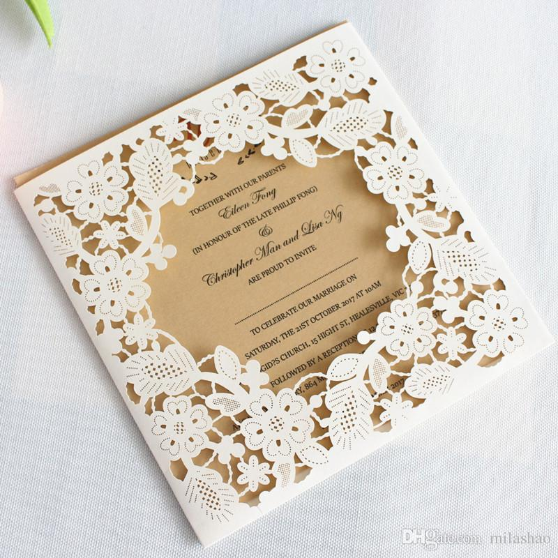 White Floral Rustic Wedding Engagement Party Invitation Cards Pocket