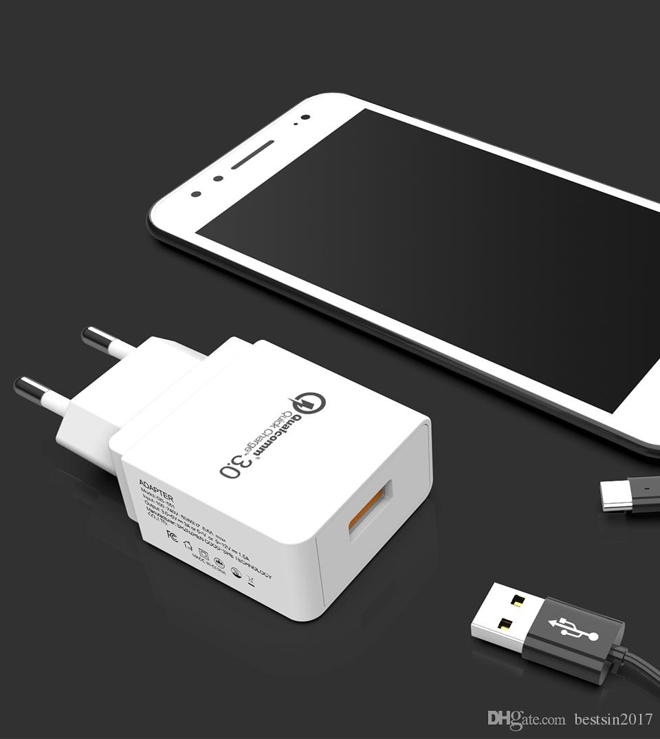 Universele Oplader Telefoon Quick Charge 3 Usb Fast Charger Voor Samsung S9 Usb Adapter Us Eu Plug Opladen Universele Mobiele Telefoon Oplader Voor Iphone