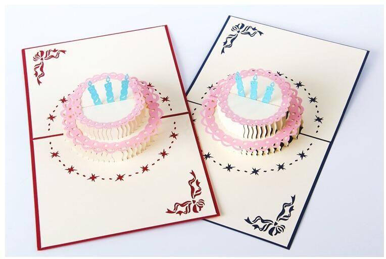 Compre 3D Pop Up Cartão Artesanal Feliz Aniversário Bolo De Presente
