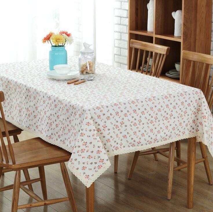 Romantic Linen Cotton Tablecloth Floral Printed Rectangular Table
