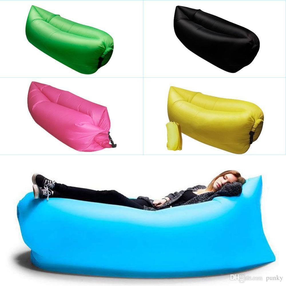 Le Canape Gonfle Lounge Sleep Bag Lazy Beanbag Gonflable Canapé Chaise Salon Bean Bag Coussin En Plein Air Auto Gonflé Beanbag Meubles 100 Pcs