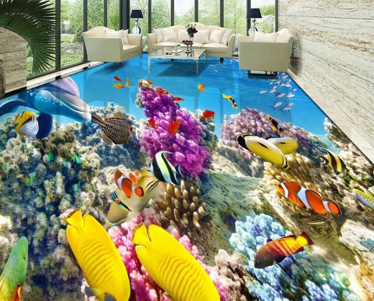3d Floor Wallpaper Online Hd 3d Coral Reef Tropical Fish Bathroom Bedroom Floor