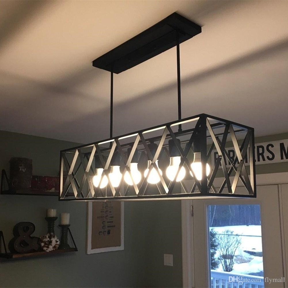 Black Wrought Iron Kitchen Light Fixtures Vintage Industrial 6 Lights Edison Retro Rustic Wrought Iron Black Chandelier Rectangle Island Light Fixtures For Kitchen Bar Living Room