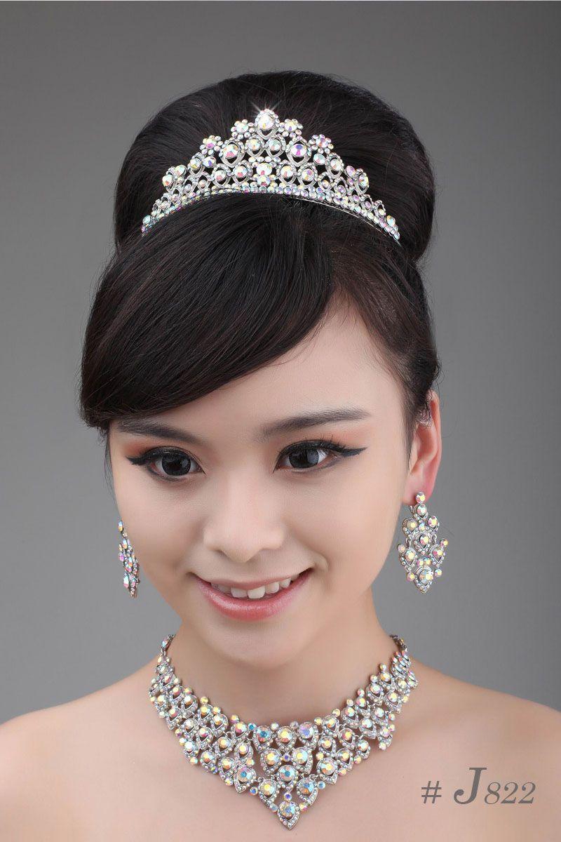 Simple lovely bridal jewelry set j841 1 wedding necklace earrings tiara jewellery set pearl drop necklace pearl jewellery sets from aslove 17 09 dhgate