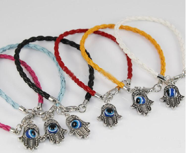 2019 Leather Cord Bracelet With Silver Hamsa Hand Of