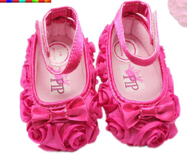 2019 2015 New Hot Pink Bow Roses Princess Shoes Baby Shoes