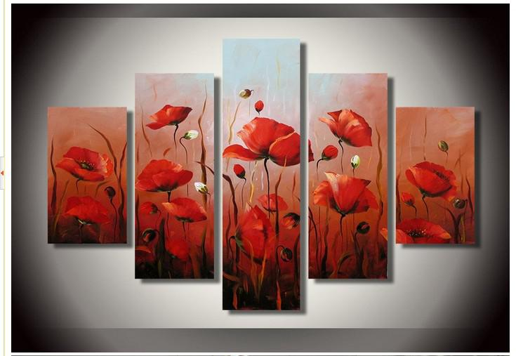 Hand-painted Artwork The Bright Red Flowers Wall Decor Landscape Oil