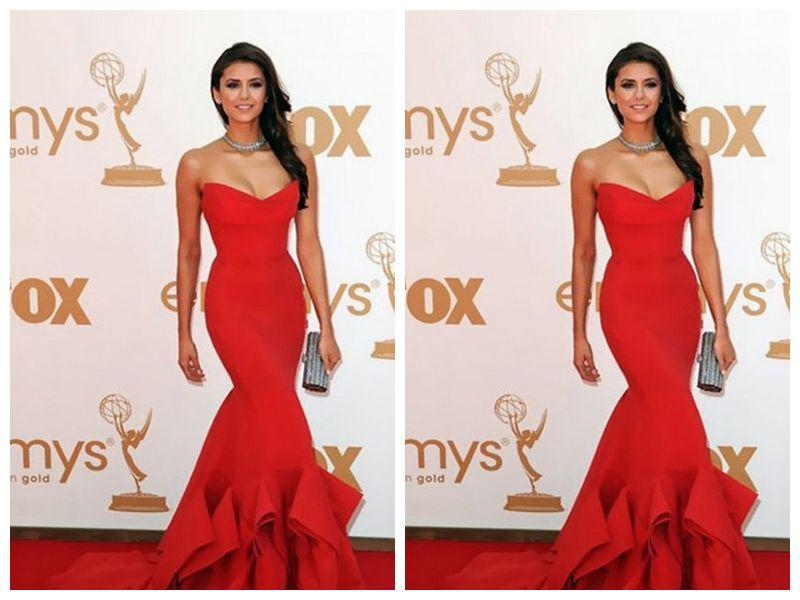 Actual Sample Sexy Red Nina Dobrev mermaid Long Length Evening Dress Stylish Shape Prom Dress Occasion Pageant Gown