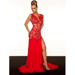 Dashing Prom Dress Red Open Back Lace Sheath Slit Eveningdresses Red Pageant Gown Prom Dresses Prom Dress Evening Dresses Without Prom Dress Red Open Back Lace Sheath