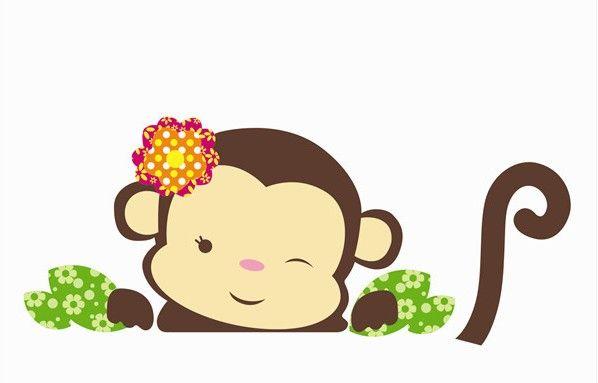 Baby Girl Nursery Removable Wallpaper Two Cute Baby Monkeys Cartoon Wall Stickers Kid Room Style