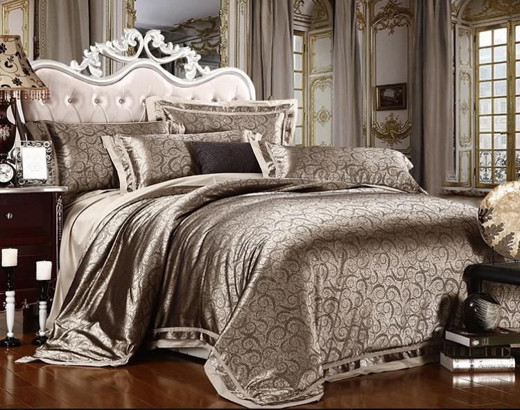 Luxurious Jacquard Satin Handmade Embroidery King Bed