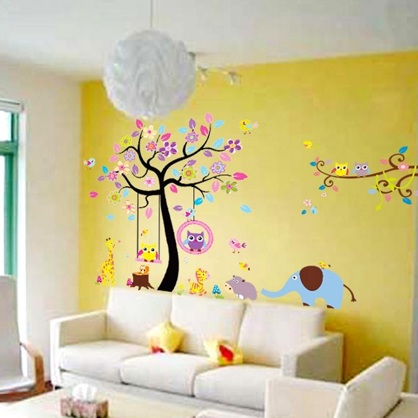 New Design Large Tree Wall Stickers Animal Paradise Nursery Decals - large wall decals for living room