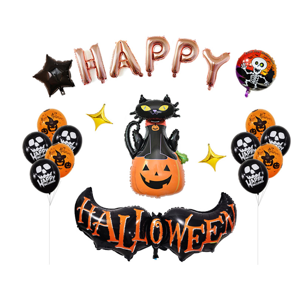 Feier Party Halloween Ballon Set Urlaub Feier Party Dekoration Halloween Bat Star Folie Luftballons Charme Quaste Supplies Ballons S3