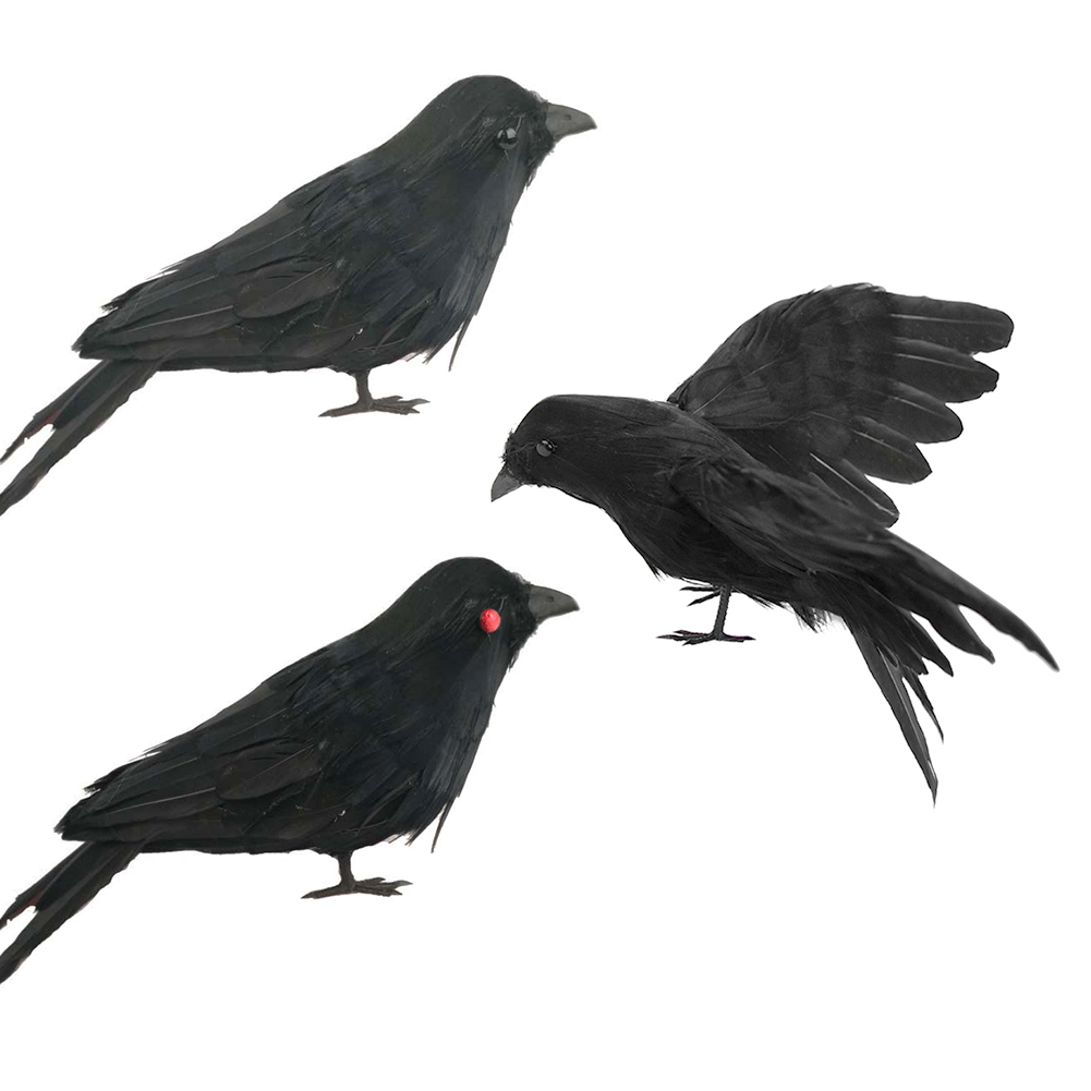 Vogel Schwarz 3 StÜcke Feder Vogel Schwarz Vogel Gespreizte Flügel Dekoration Schwarz Crow Requisiten Halloween Party Bar Ornamente