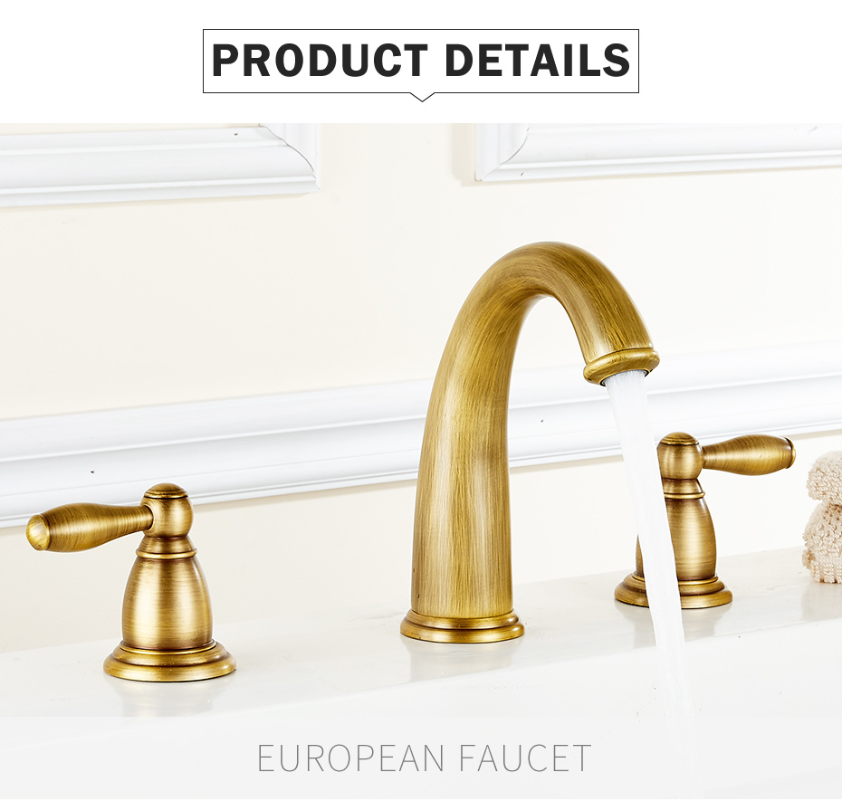 Bagnodesign Basin Taps Flg Basin Faucet Golden Plate 3 Fori Lavandino Del Bagno Rubinetto Deck Mounted Cold Hot Vintage Sink Faucet Mixer Tap
