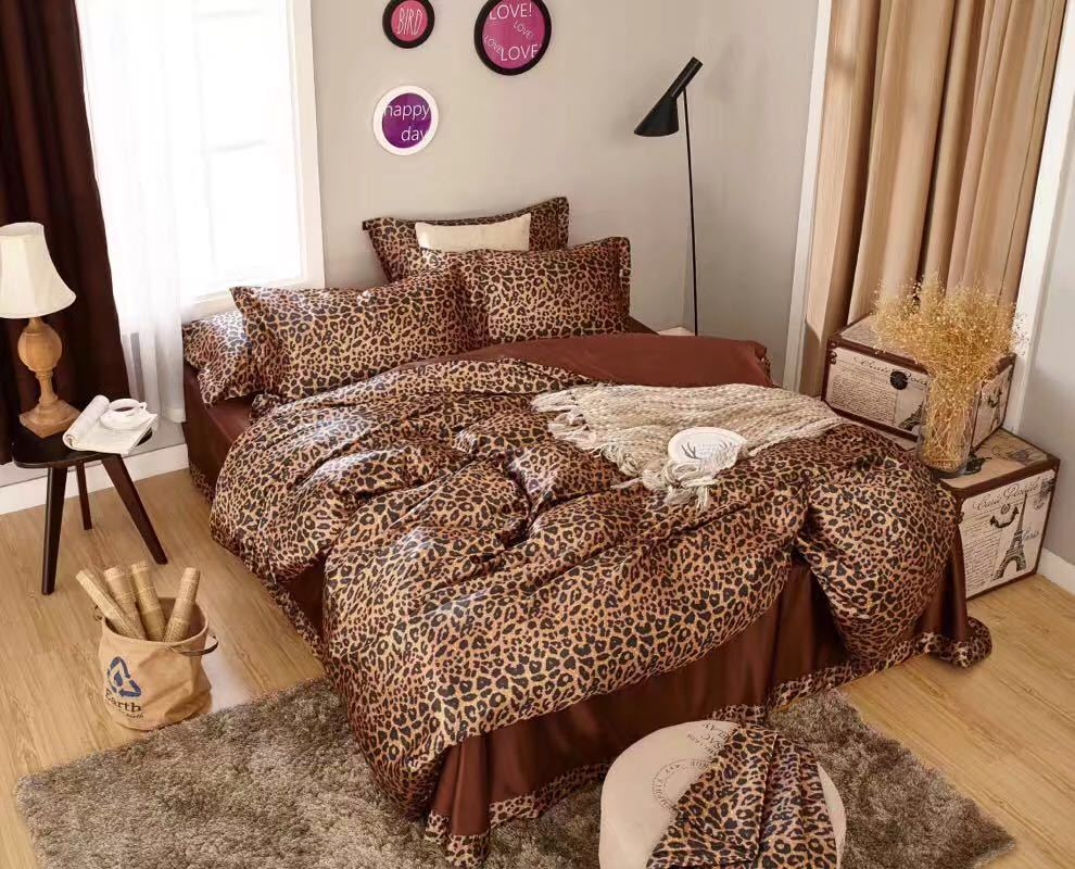 Duvet Covers And Comforters Satin Silk Bedding Set Comforter Duvet Covers Bedspreads Twin Full Queen King Size Bedroom Decor Brown Sexy Leopard Skin Printed