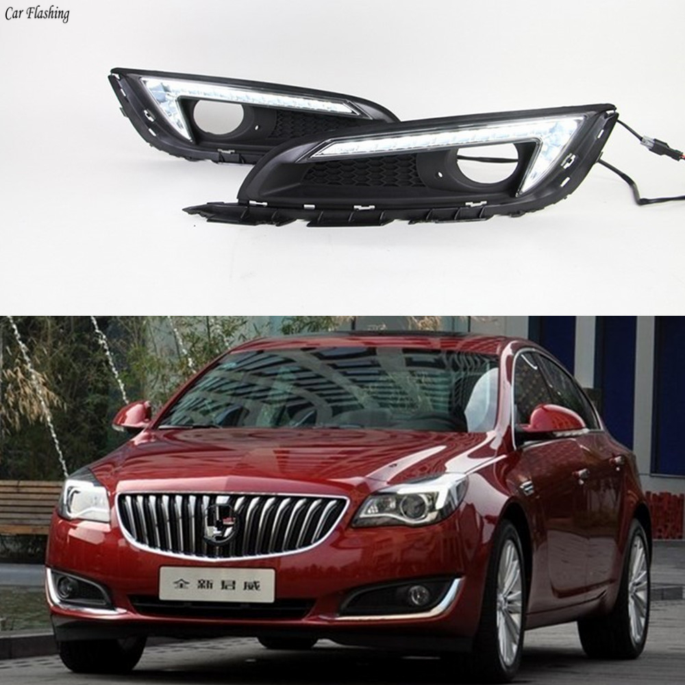 Regal Led Headlamp Car Flashing 1 Set For Buick Regal Opel Insignia 2013 2014 2015 Car Led Drl Daytime Running Light Daylight With Fog Lamp Cover
