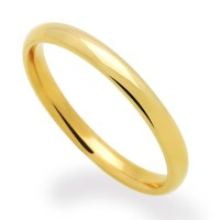 Men's 14K Yellow Gold 2mm Classic Domed Plain Wedding Band ...