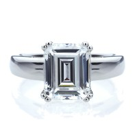 10mm Platinum Plated Silver 4ct CZ Solitaire Wedding ...