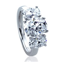 9mm Platinum Plated Silver 3.5ct Oval CZ Three Stone ...