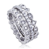 8mm Platinum Plated Silver 1ct CZ Stackable Band Wedding ...