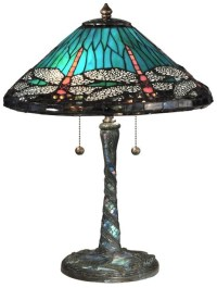 New Dale Tiffany Lamp Blue Cone Dragonfly Table Lamp Glass ...
