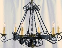 VINTAGE SPANISH MISSION CHANDELIER WROUGHT IRON/BRASS TONE ...
