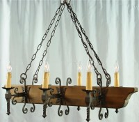 LARGE VINTAGE SPANISH MISSION CHANDELIER, OAK/IRON, 6 ...