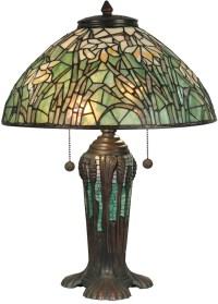 DALE TIFFANY DAFFODIL TABLE LAMP GREEN/WHITE ART GLASS ...