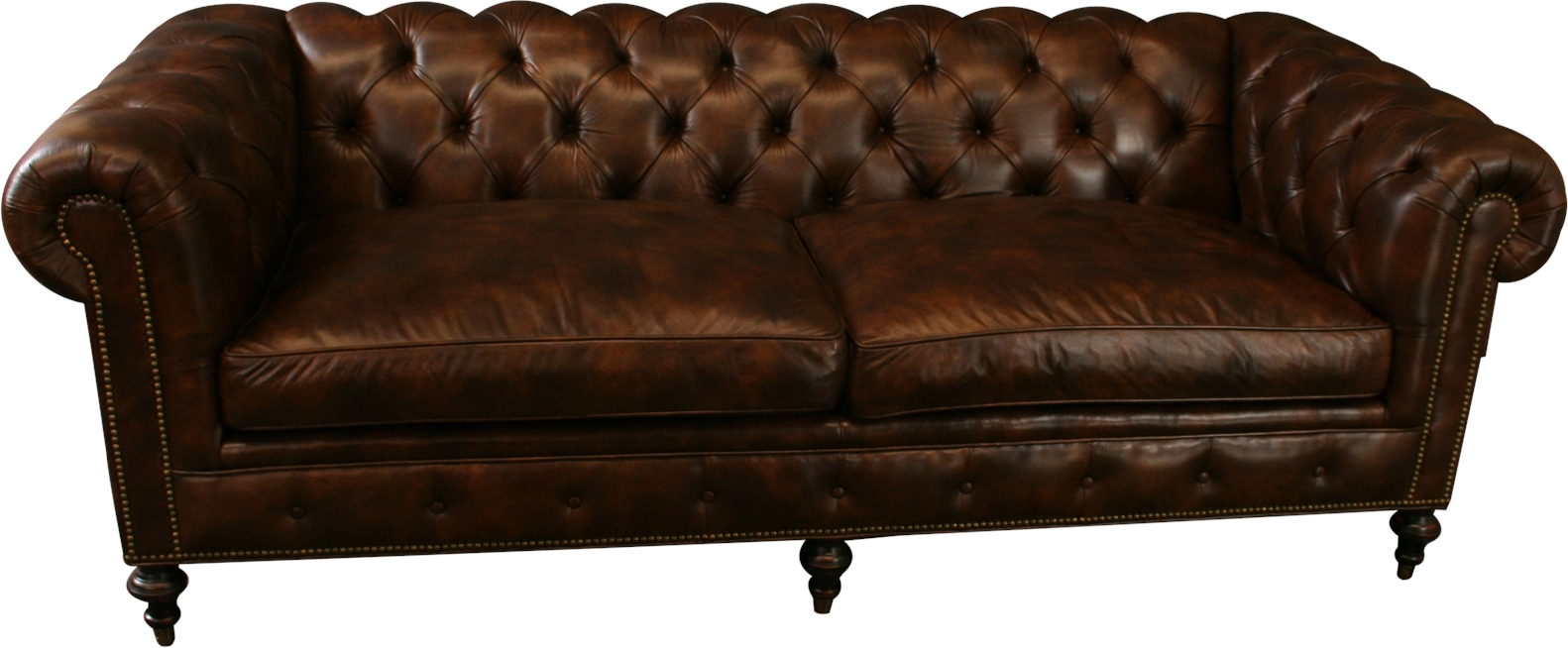 Ebay Sofas Details About New Leather Chesterfield Sofa Wood Brown Top Grain Leather Nailhead Trim