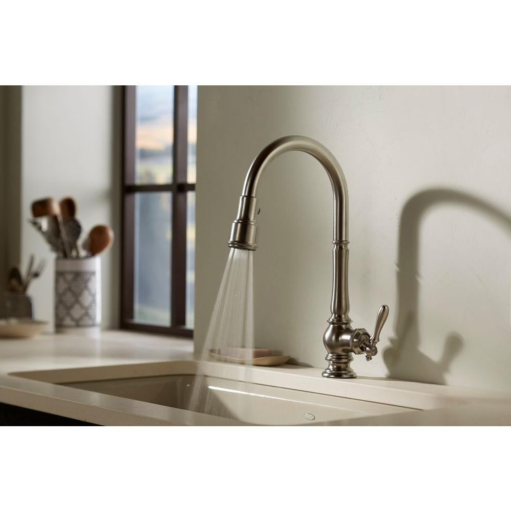 kohler K polished chrome kohler faucets kitchen K CP Artifacts Pull Out Spray Kitchen Faucet Polished Chrome at FergusonShowrooms com