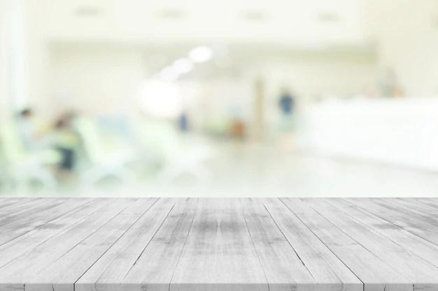 Tablero De Madera Blanco Vacio En El Interior Del Hospital