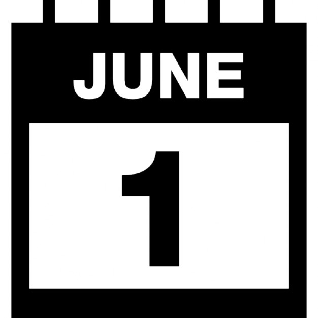June 1 daily calendar page interface symbol with thin spring and - daily calendar