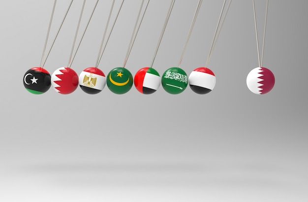 Before some middle east flags pendulum hit qatar sphere ball bully