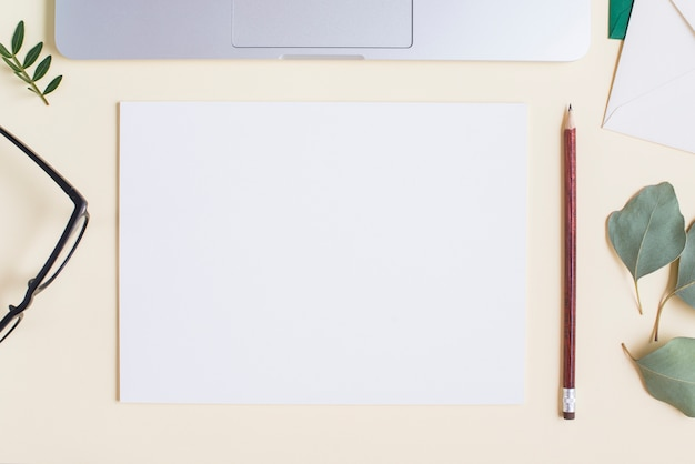 Blank white paper; pencil; eyeglasses; leaves and laptop on beige