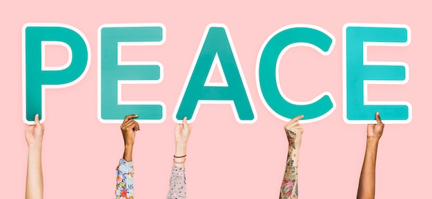 Blue letters forming the word peace Photo Free Download