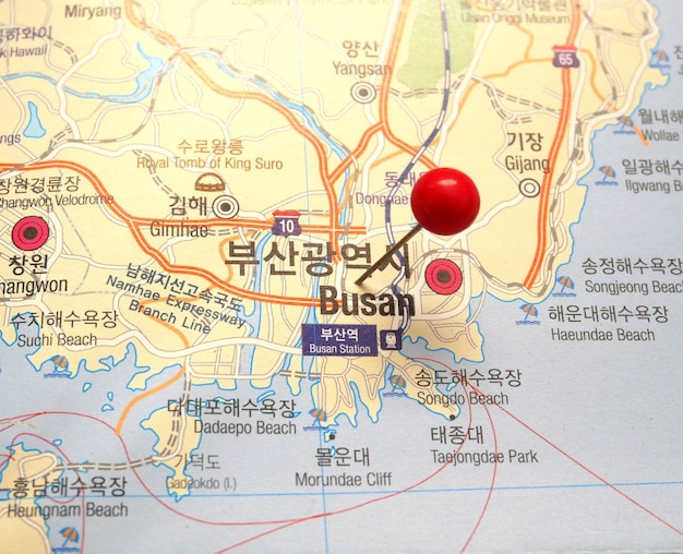 Busan pinned on a map of South Korea Photo Premium Download