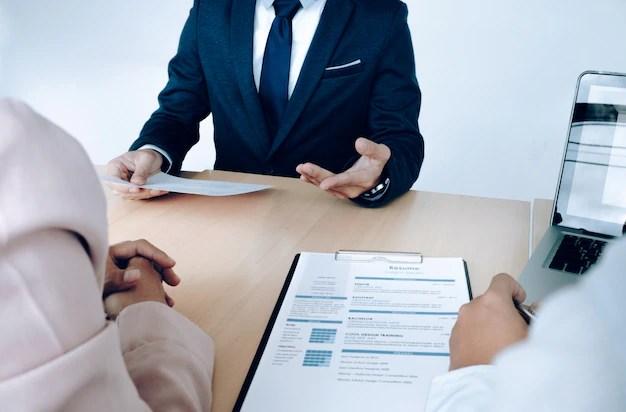 Business situation, job interview concept Job seeker present resume