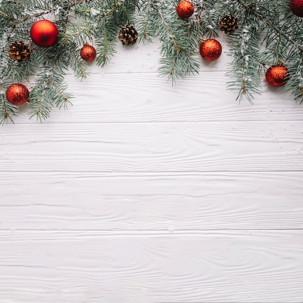 Christmas background with balls and space on bottom Photo Free