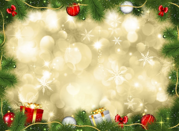 Christmas background with gifts and baubles Photo Free Download