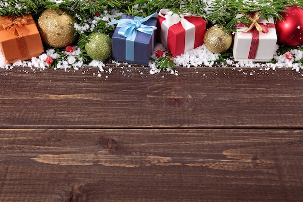I Want To Download Cute Wallpapers Christmas Gifts On Wooden Background Photo Free Download