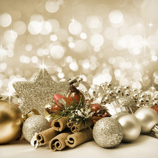 Elegant christmas ornaments with a star Photo Free Download