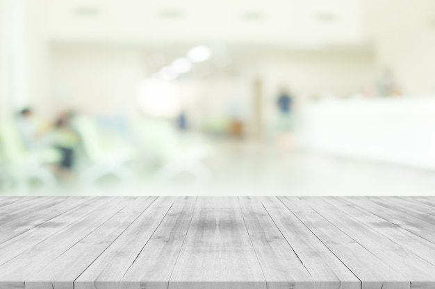Medical Wallpaper Hd Empty White Wood Table Top On Blur Hospital Interior For