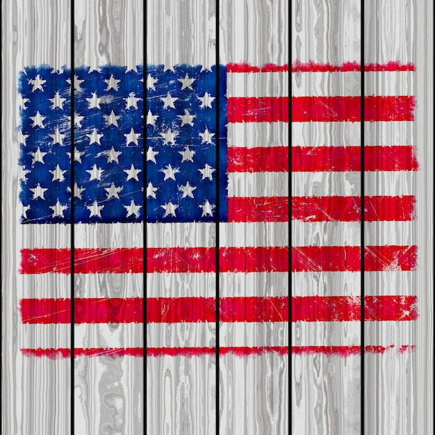 Grunge style america flag on a wooden texture background Photo - America Flag Background